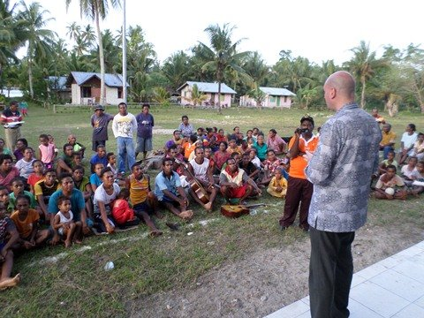 Socialisation presentation on solar energy, Pasi island, Biak, West Papua, Indonesia